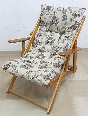 Sessel Liegestuhl Relax Aus Holz Zusammenklappbar Kissen Gefllt H 100 Cm Wohnzimmer Kche Lounge Sofa