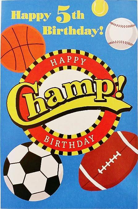 Amazoncom Happy 5th Birthday Champ Greeting Card 5 Years