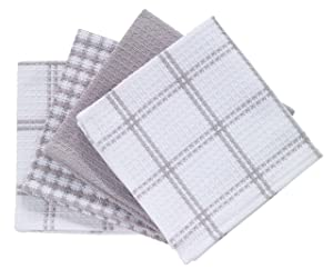 T-fal Textiles 24354 4-Pack Cotton Flat Waffle Dish Cloth, Gray