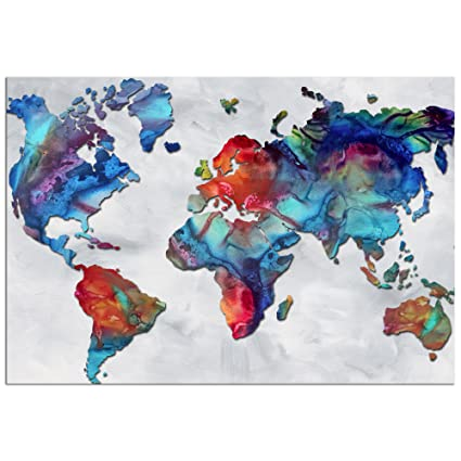 Amazon Com Colorful World Map Art The Beauty Of Color V2 3