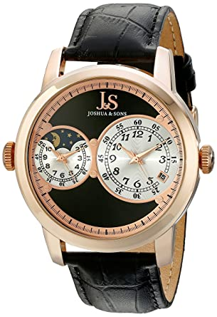 f72b650f7dc Joshua   Sons Men s JS87 Dual Time Zone Quartz Watch Round Dial and  Embossed Leather Strap