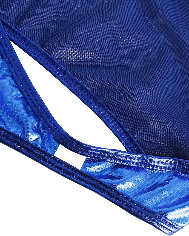 YiZYiF Damen Metallic Einteilige Badeanzug Bikini Lack Leder Body Overall Monokini