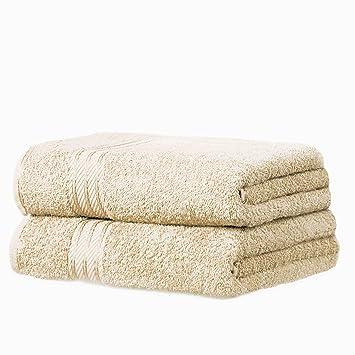 restmor Knightsbridge - Juego de 2 Toallas de baño (100% algodón Egipcio, tamaño XL), Color Marfil: Amazon.es: Hogar
