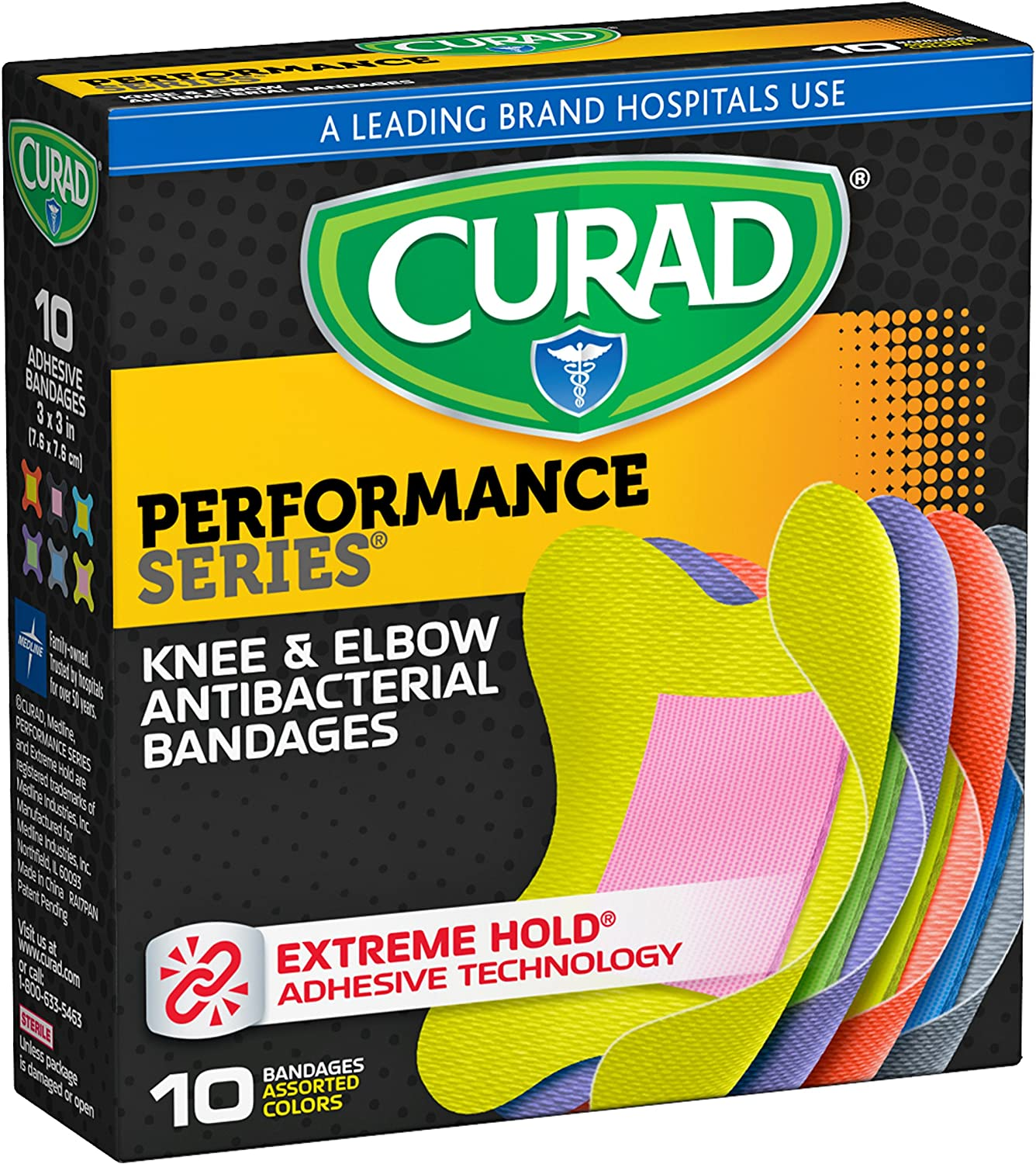 Curad Performance Series Knee and Elbow Extreme Hold Antibacterial Fabric Bandages, 10 Count