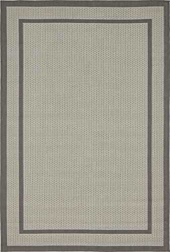 Unique Loom Outdoor Border Collection Casual Solid Transitional Indoor and Outdoor Flatweave Gray Area Rug 4 0 x 6 0