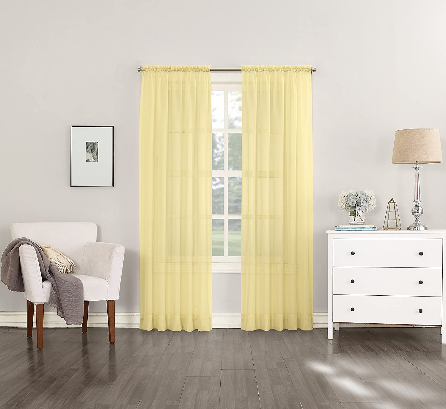 "No. 918 Emily Sheer Voile Curtain Panel, 59"" x 63"", Yellow"