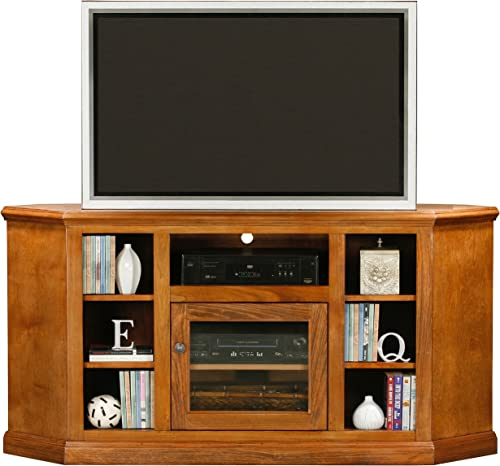 Eagle Coastal Thin Corner Entertainment Console with Bookcase Sides 63 Midnight Blue Finish