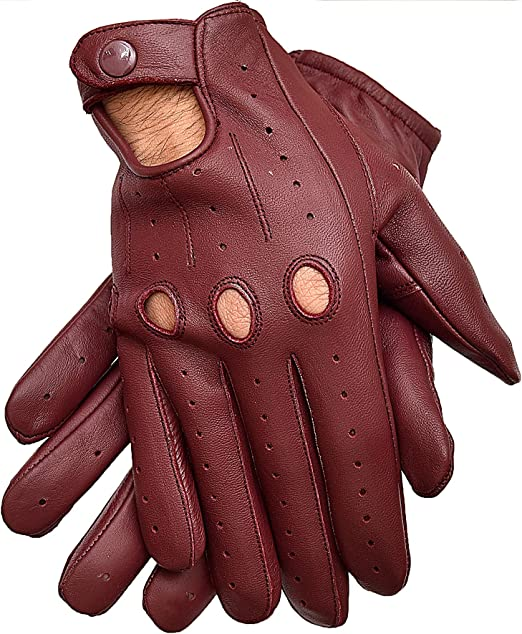 Men's Professional Real Leather driving gloves Retro style with knuckle Hole