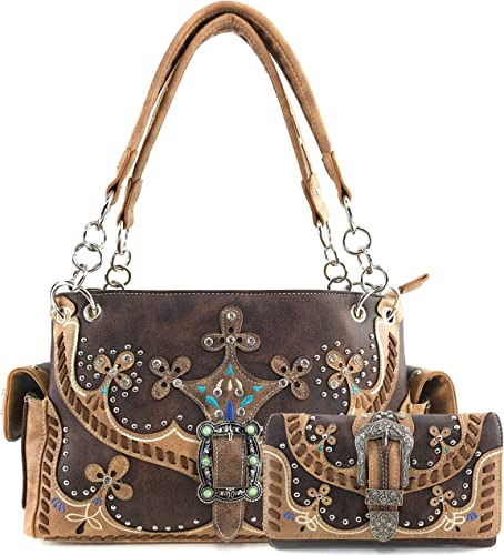 Western Handbag Multi-Color Longhorn Buckle Carry Concealed Purse and Wallet Set