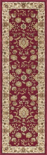 Gabrielle Transitional Border Red Runner Rug, 2 x 10