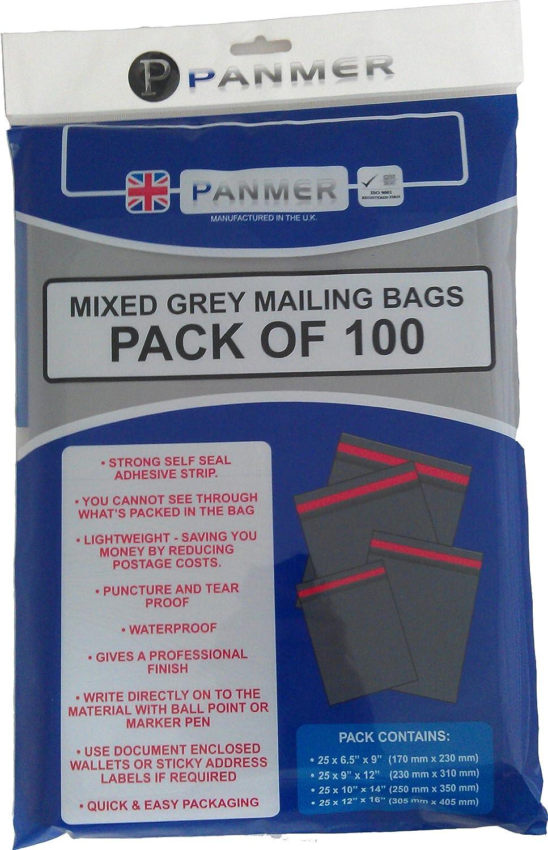 Panmer-Buste postali miste, colore: grigio (Confezione da 100) Panmer Plastics UK Ltd MB/100/MIX