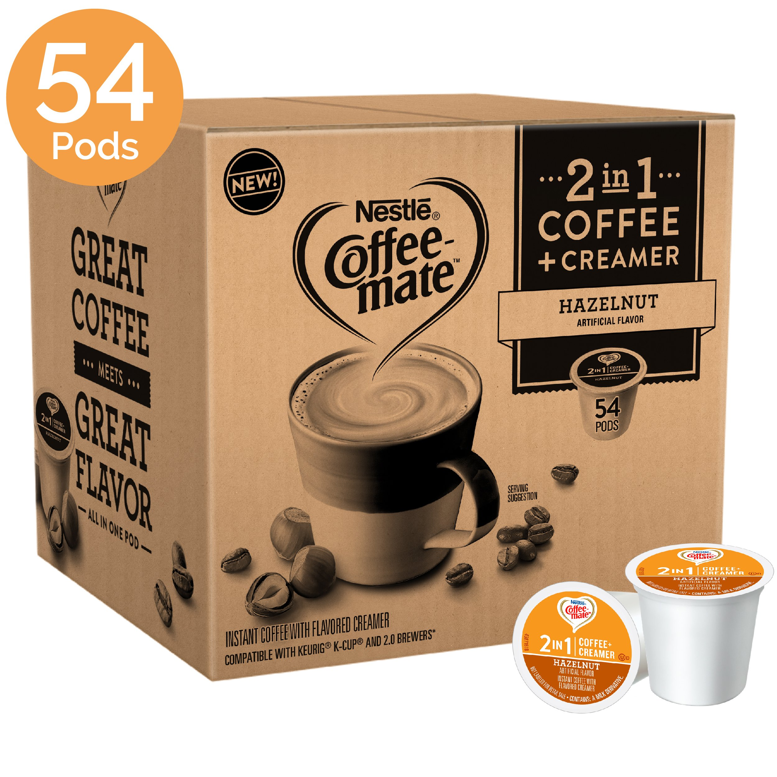 Coffee Mate Hazelnut Flavored 2-in-1 Single Serve Coffee Pods – Coffee and