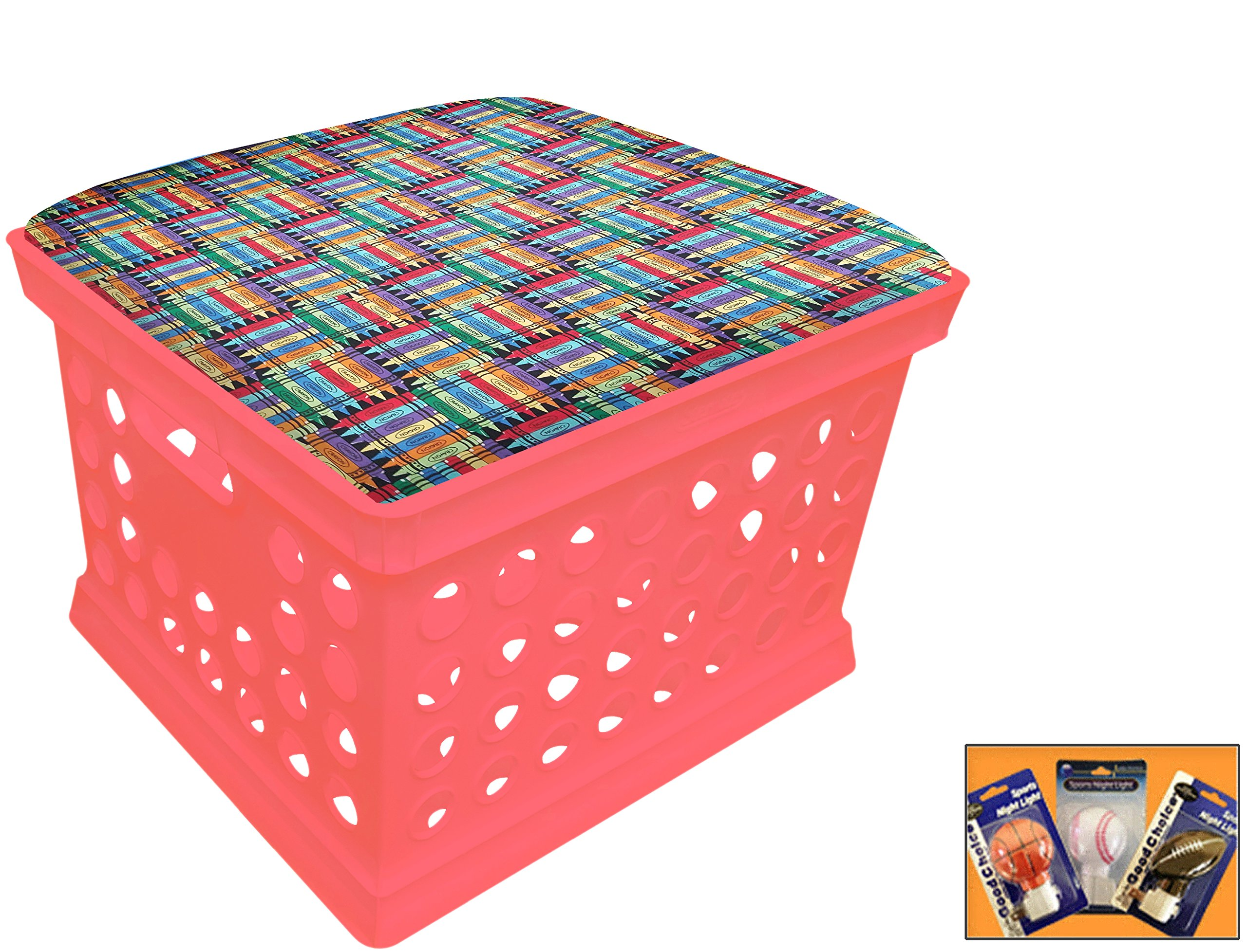 Pink Utility Crate Storage Container Ottoman Bench Stool for Office/Home/School/Preschools with Your Choice of Seat Cushion Theme! (Crayons)
