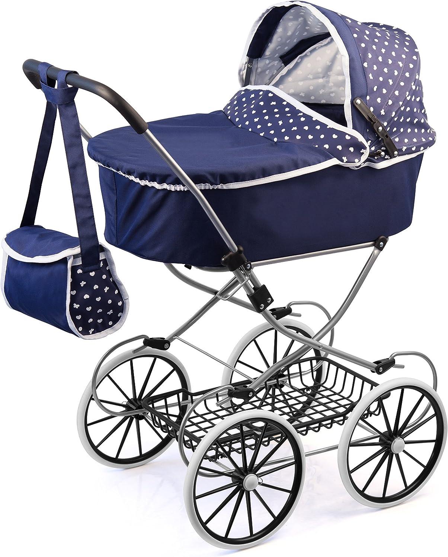 Bayer Design- Cochecito de muñeca, Classic Deluxe, Color Azul, 89 x 70 x 42 cm (12151AA)