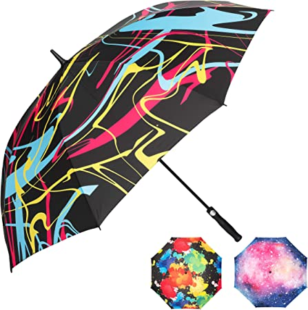 Red Razcal Big Umbrella with Cool, Colorful Designs; Extra Large Family Size 62 Inch Domed Sun and Rain Umbrella; UV Protection with Superior SPF; Quick Dry, Durable, Windproof and Automatic Open