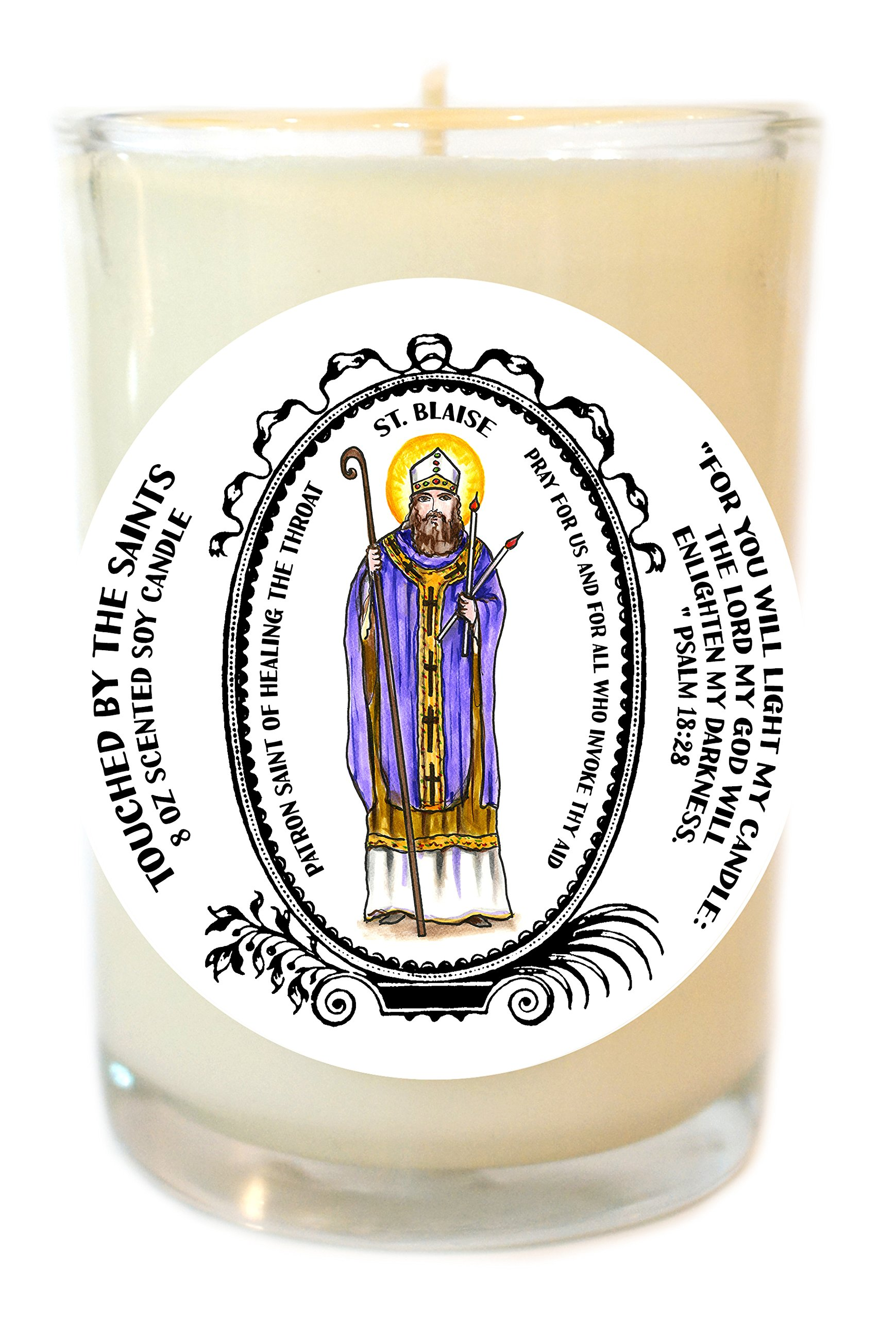 Saint Blaise Patron of Healing the Throat 8 Oz Scented Soy Glass Prayer Candle