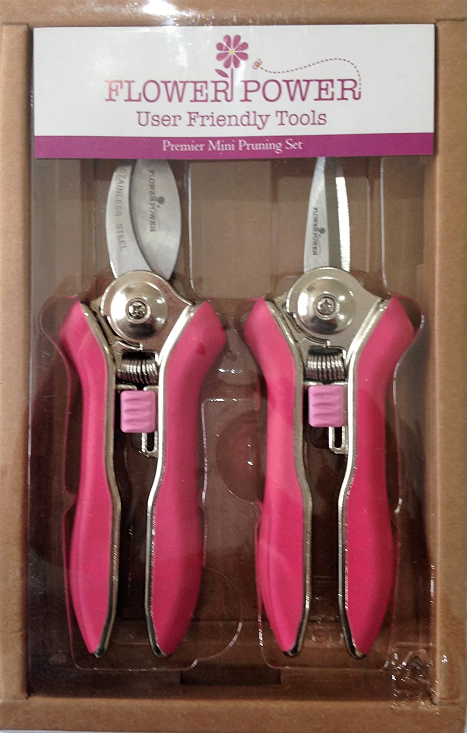 Ladies Gardening Mini Pruner Secateurs Set - Two Razor Sharp Pink Ladies Garden Secateurs - Bypass & Trimmer Ladies Secateurs - Best Gardening Gift for women. On Sale Buy NOW! Formosan United Corporation