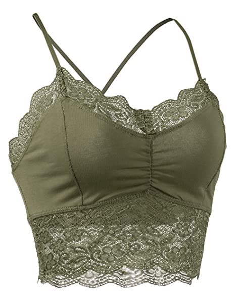 a67cd2b2834 DOUBLDO Womens Lace Cropped Bralette Cami Top with Adjustable Straps -S-MILITARY