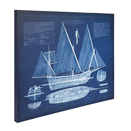 Amazon kate and laurel antique ship blueprint 24in x 30in blue kate and laurel antique ship blueprint 24in x 30in blue canvas wall art malvernweather Image collections