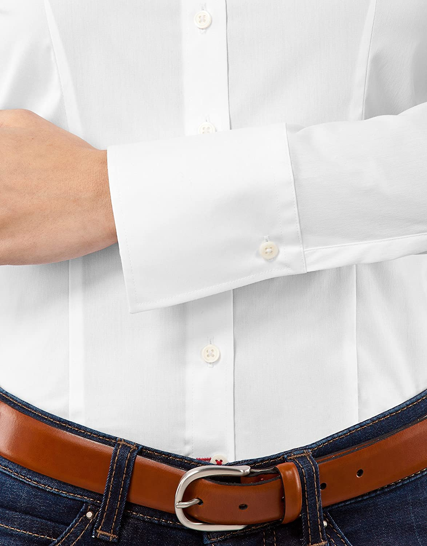 Vincenzo Boretti Camisa de Mujer Elegante y cl/ásica Ligeramente el/ástica Cuello Kent Mezcla de algod/ón Slim-fit Lisa Ajustada Entallado Manga-Larga f/ácil de Planchar
