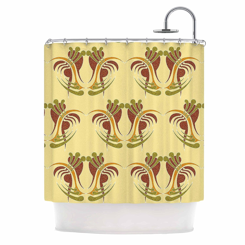 Kess InHouse Dan Sekanwagi Curvaceous Yellow Pattern Shower Curtain 69 by 70