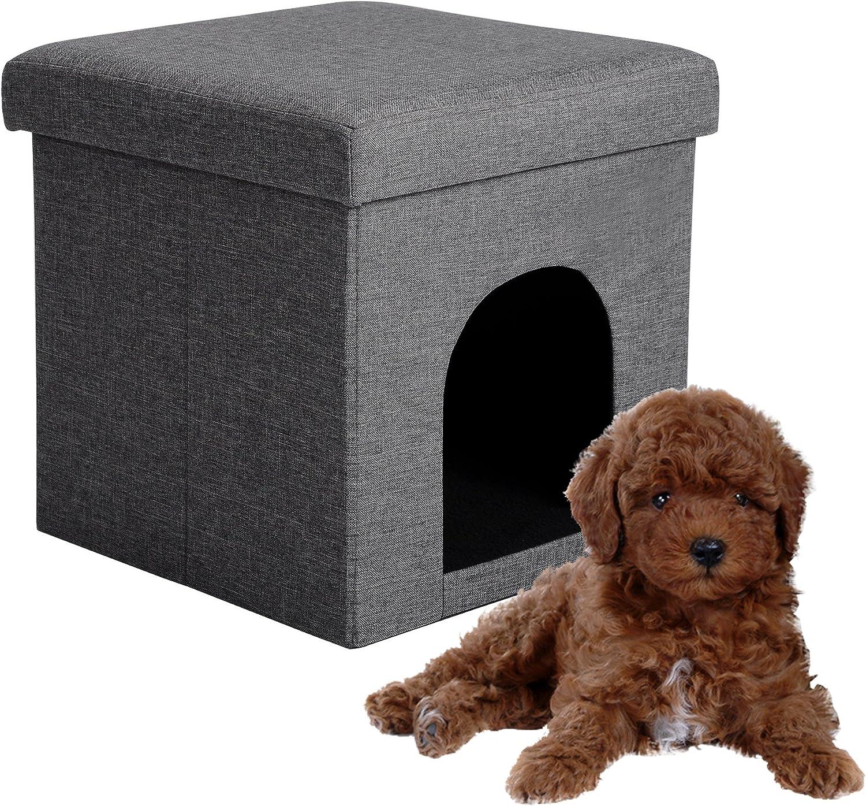 EUGAD Taburete Casa para Perros Gatos Plegable Caseta para Perros Casa para Mascotas Taburete con Espacio para Almacenamiento Gris MDF 0002DZ