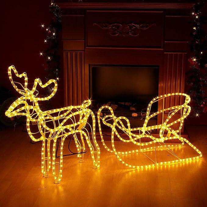 Nipach GmbH Rentier mit Schlitten aus 14 m Lichterschlauch 504 Birnen Figur Weihnachtsbeleuchtung 140 cm L/änge Leuchtfigur Weihnachtsdekoration Fassadendeko Xmas