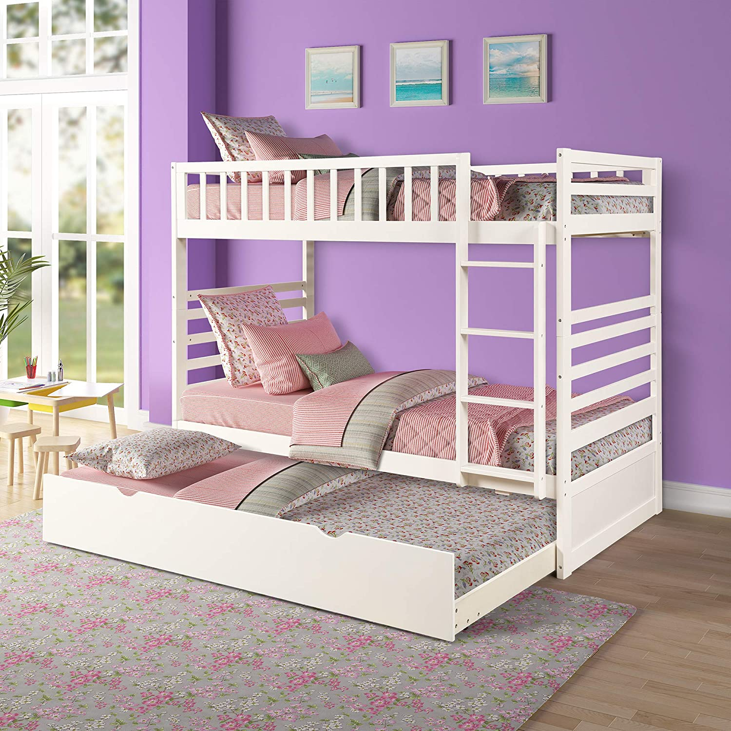 Bunk Beds for Kids, Over Twin Bed with Trundle, Wooden Twin Bed with Drawer and Safety Rail Ladder, Teens Bedroom Bed, Guest Room Furniture White