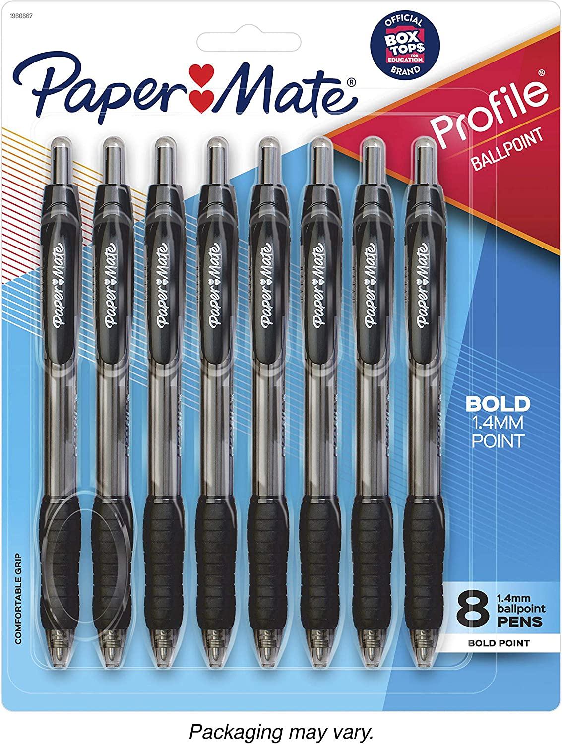 Paper Mate Profile Ink Pen Black Ball Point Pen Bold Point New  2 Pens #v