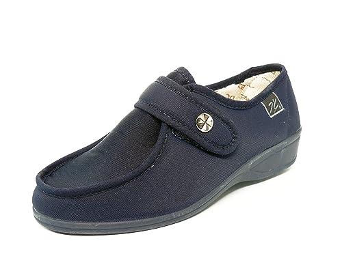 Zapatilla mujer calle DOCTOR CUTILLAS en tejido licra color Azul Marino cierre Velcro - ANCHO ESPECIAL - 746 - 30: Amazon.es: Zapatos y complementos