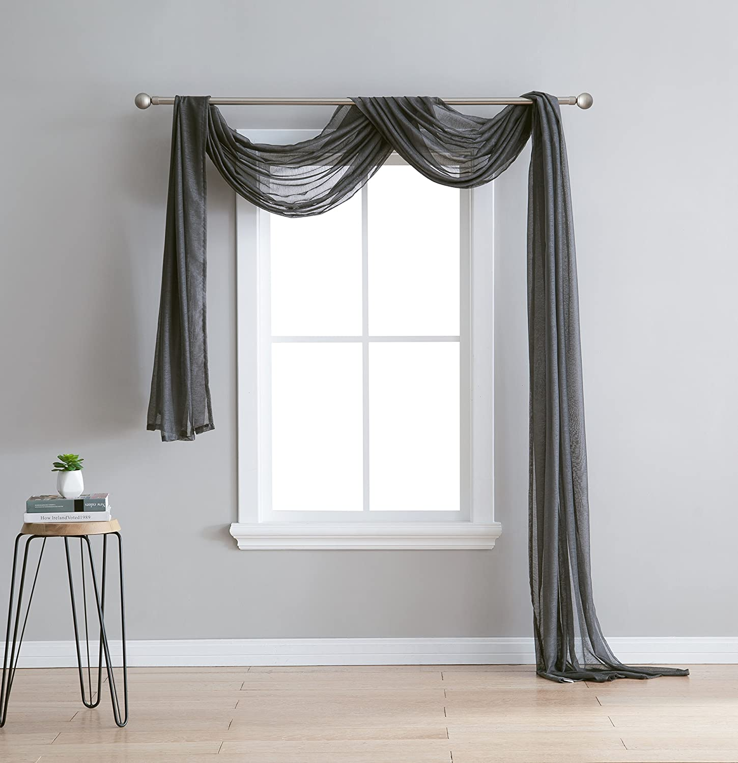 Charcoal Jane - Semi-Sheer Window Scarf (54 x 216) - Elegant Home Decor Window Treatments