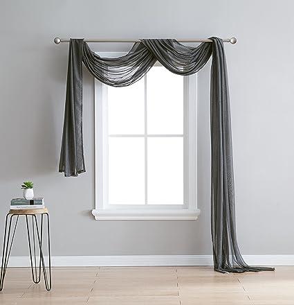 LinenZone Karina   Semi Sheer Window Scarf (54 X 144)   Elegant Home