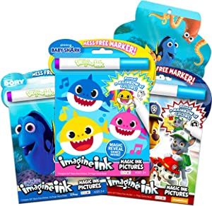 Baby Shark Coloring and Activity Book Super Set ~ Bundle Includes 3 Mess Free Magic Coloring Books with Bonus Stickers (Baby Shark Party Supplies)