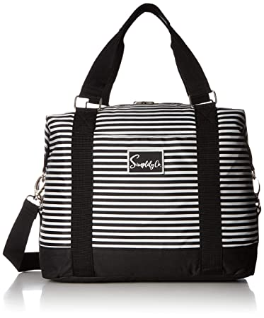 e40437216 Amazon.com | Travel Weekender Overnight Carry-on Under the Seat Shoulder Tote  Bag (Small, White & Black Stripes) | Carry-Ons