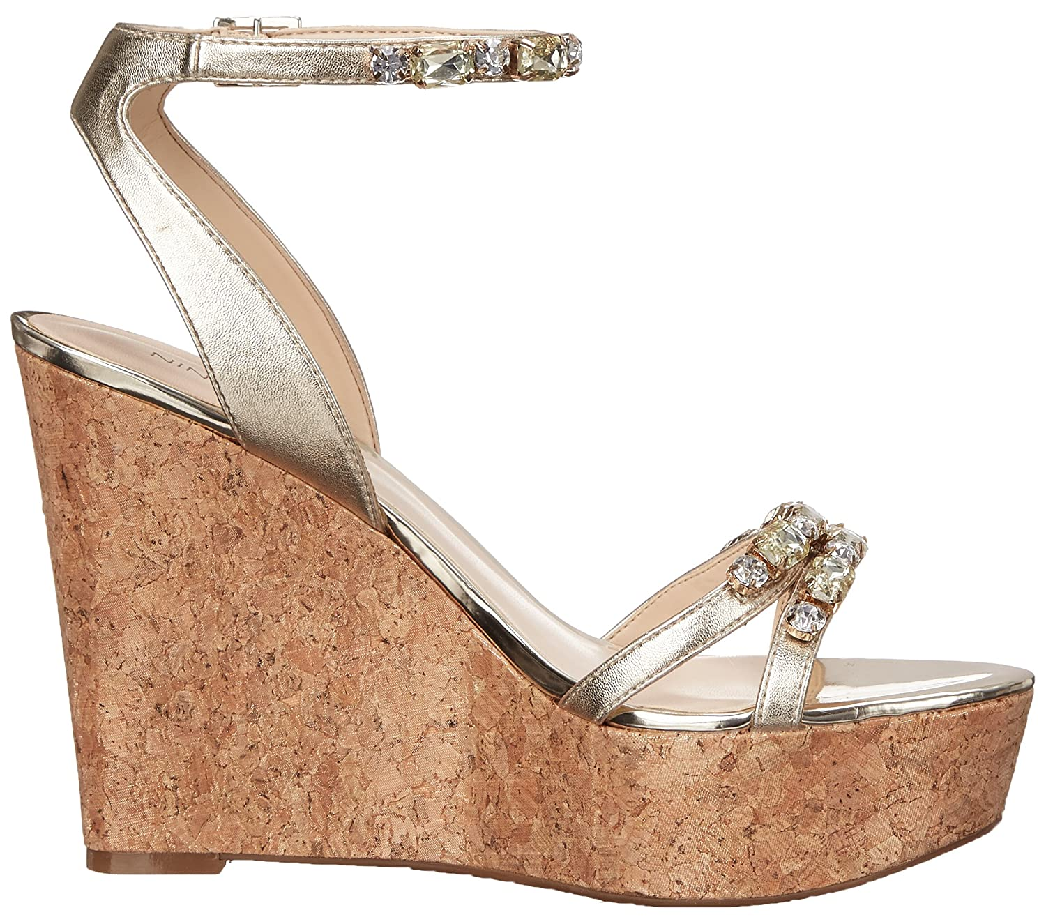 Nine West Women's Admiral Synthetic Wedge Sandal B00U2VJLFC 10.5 B(M) US|Light Gold