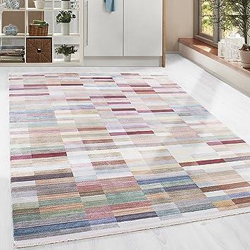 Hochwertiger Teppich Vintage Stil Kariert Gingham Und Fransen, 5 Groessen  Grau Blau Gelb Pink Lila