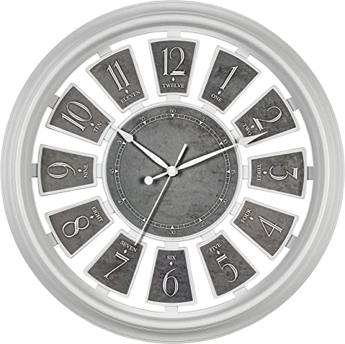 Bernhard Products Decorative Wall Clock Large 16 Inch Silent Non-Ticking White Clock