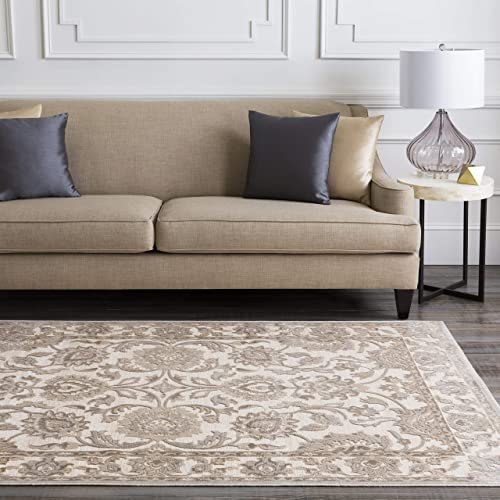 Jacquelyn Khaki, Beige and Taupe Traditional Area Rug 7 6 x 10 6