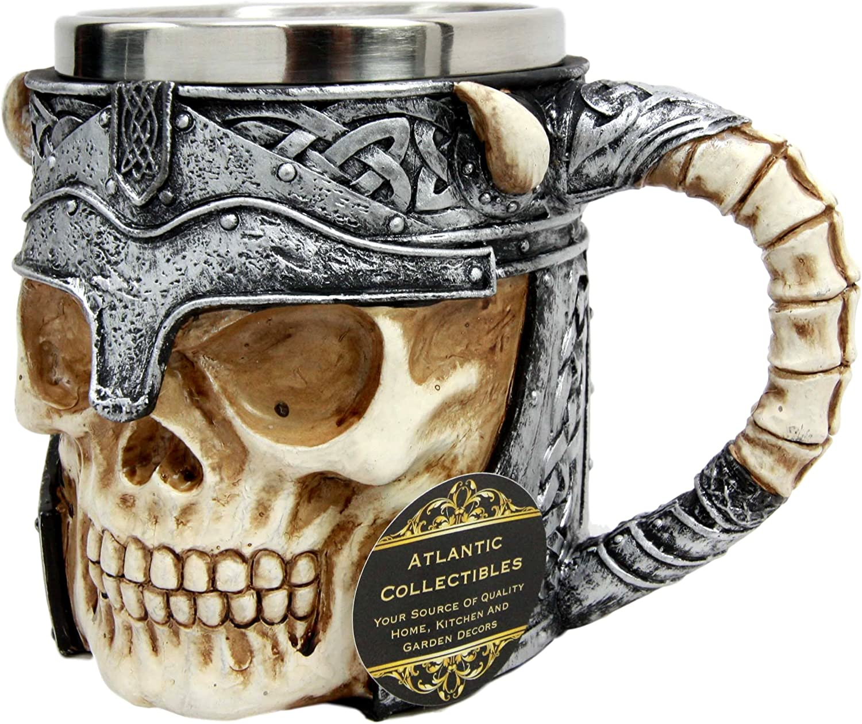Ebros Viking Horned Demon Warrior Skull With Battle Helmet Mug Beer Stein Tankard Coffee Cup Medieval Renaissance Art Decor Kitchen Party Hosting Accessory Cups Mugs Novelty