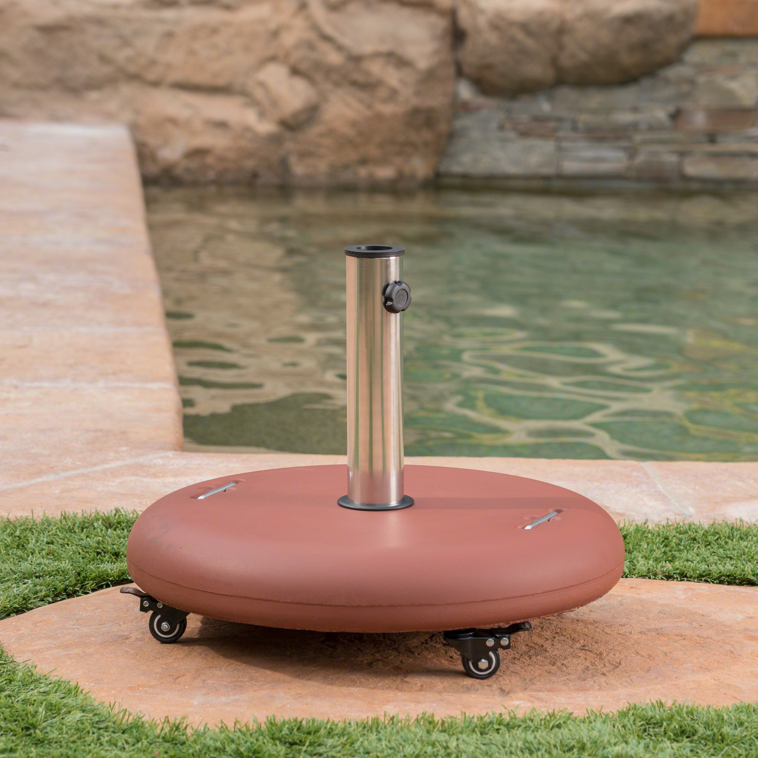 Great Deal Furniture Louise Outdoor Red Concrete Circular 80lb Umbrella Base with Steel Umbrella Holder