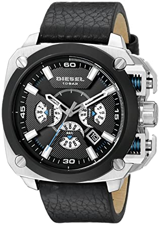amazon com diesel men s dz7345 bamf stainless steel black leather diesel men s dz7345 bamf stainless steel black leather watch