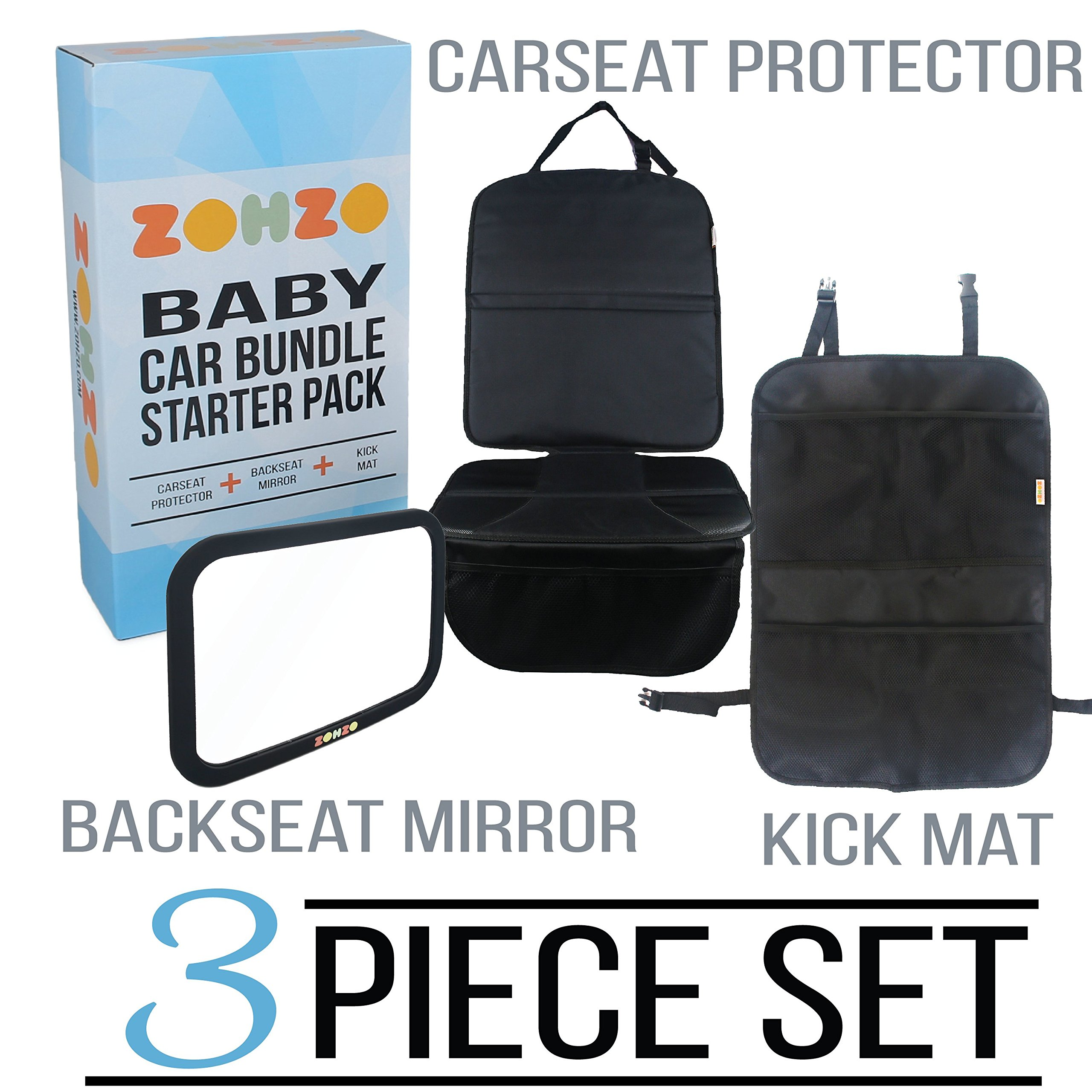 Zohzo Baby Car Bundle - Car Seat Protector Cover, Baby Car Mirror, Kick Mat Organizer| Perfect Gift for Baby Shower, New Infants, and Rear Facing Car Seats