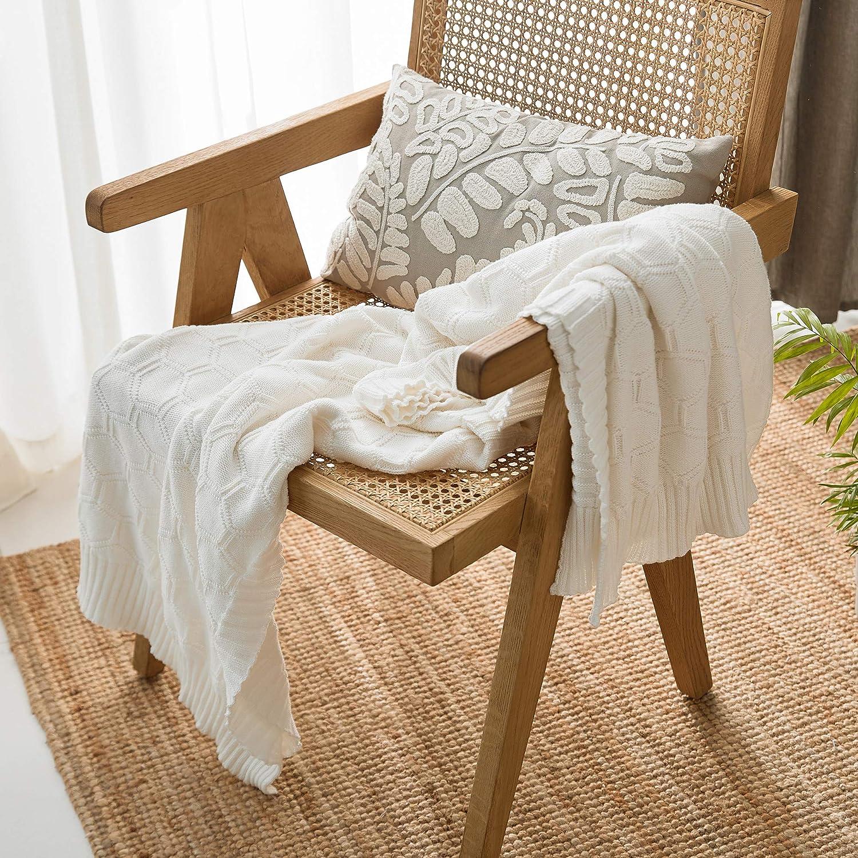 MYLUNE HOME Manta de Punto 100% algodón Hexagonal Suave Manta de Cama Manta para el hogar, Regalo de Calentamiento de casa