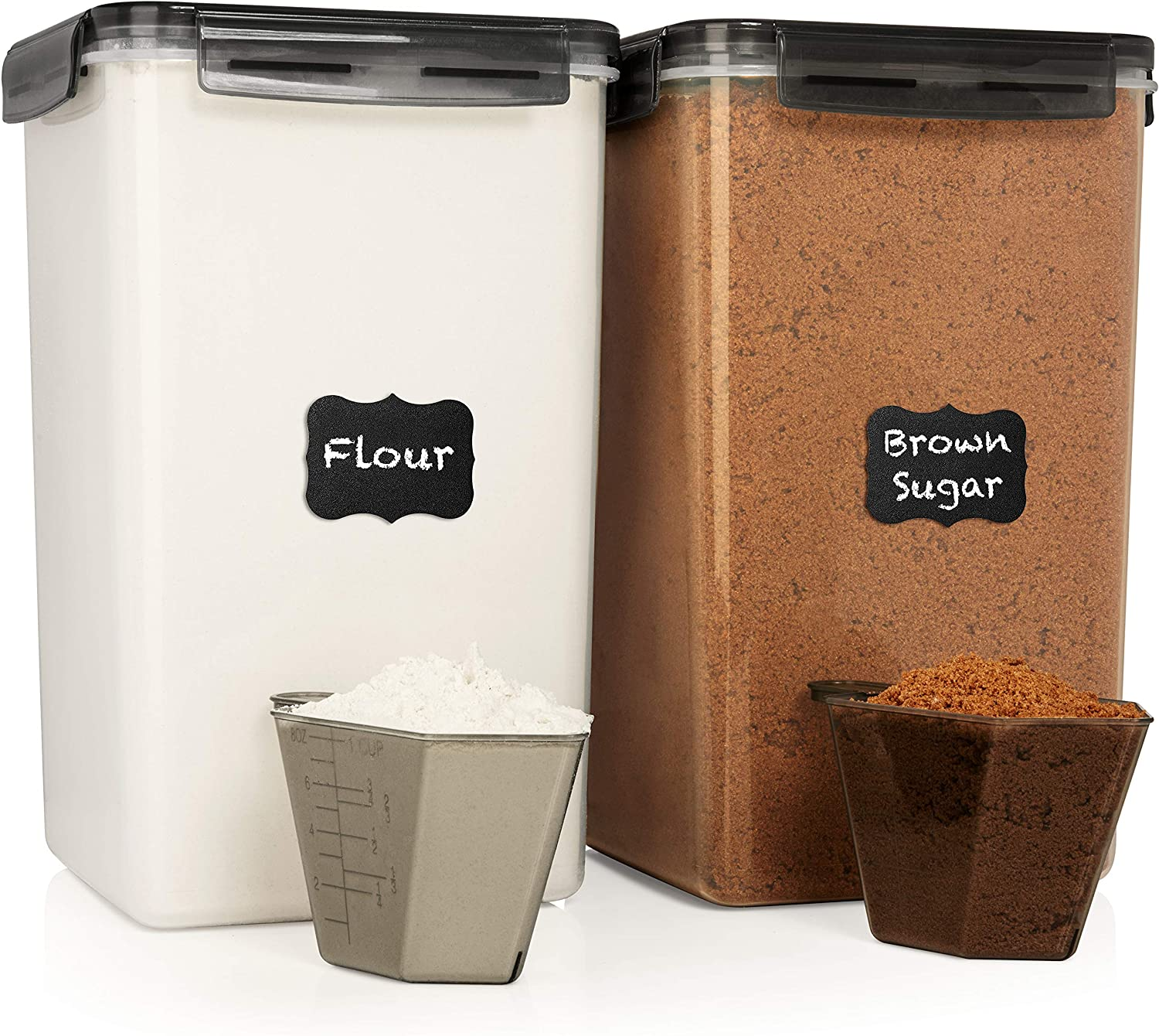 XXL 7 qt / 6.5 L / 220 Oz Food Storage Airtight Pantry Containers [Set of 2] WIDE & DEEP + FREE 2 Measuring Cup + deal for Sugar, Flour - Clear Plastic - Leakproof - BPA Free - Grey