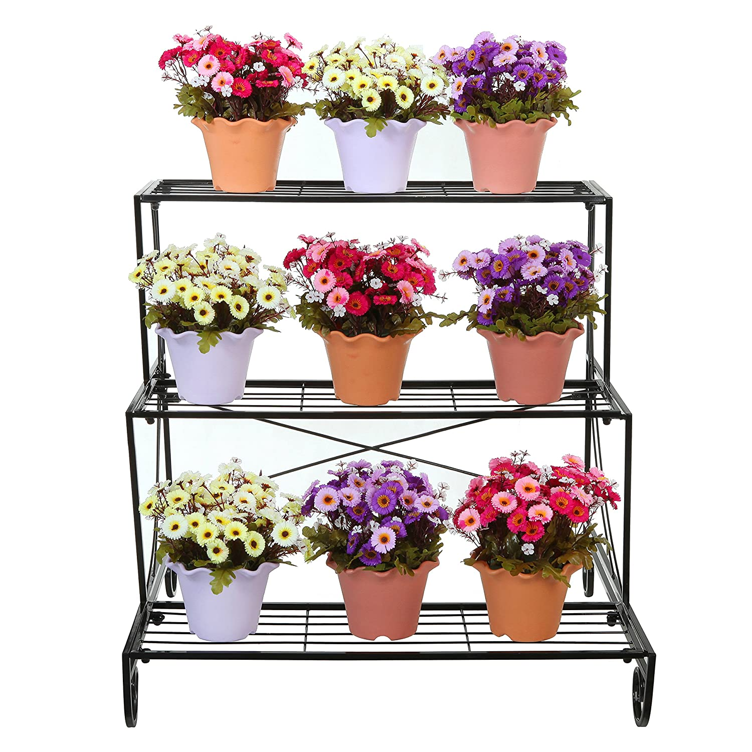 amazon com 3 tier decorative black metal plant stand planter