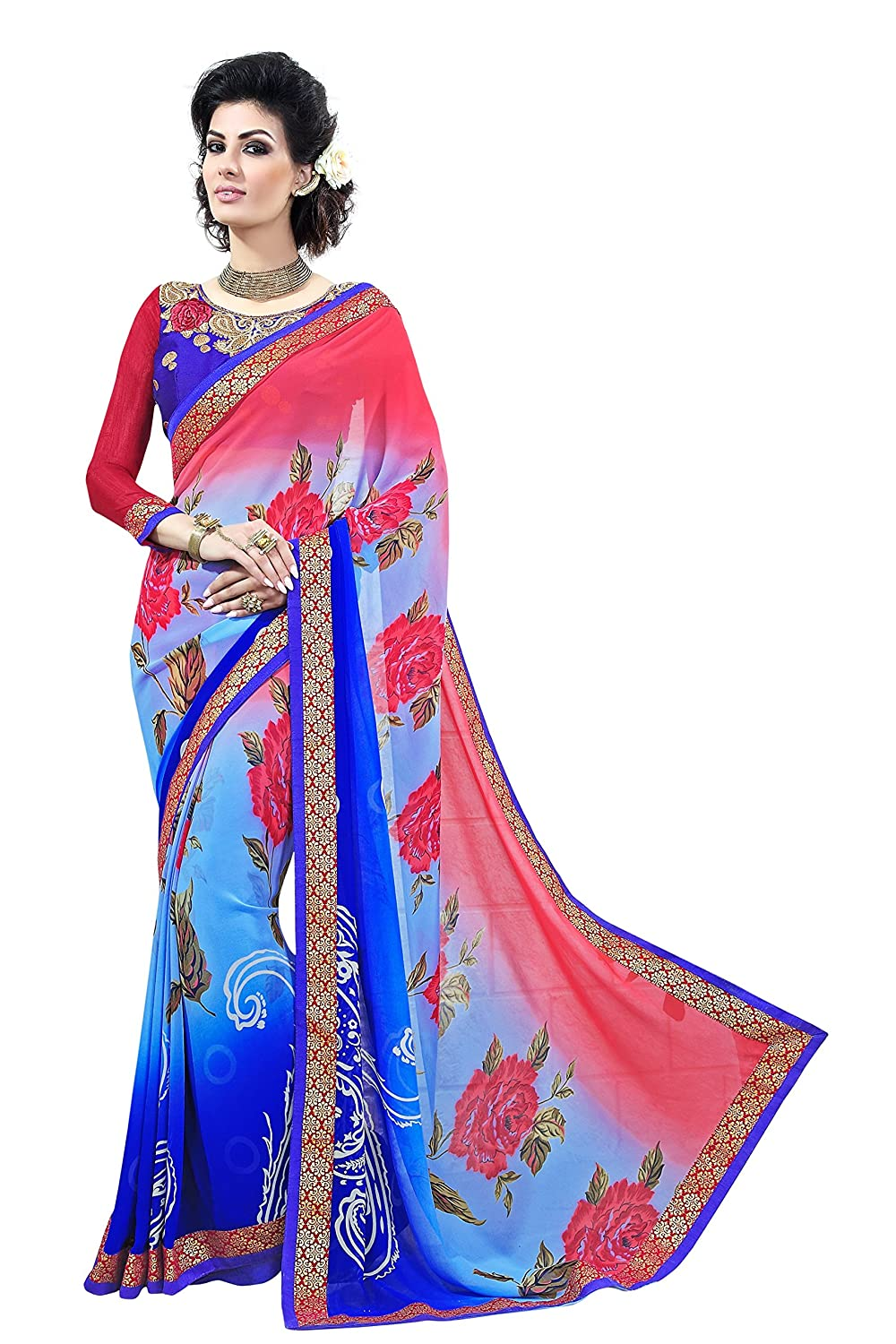 ba9df864891bb Nayonikaa Women s Blue printed Georgette Saree with Un-Stitched Embroidered  Blouse Piece (NAYSR7006NER Blue)  Amazon.in  Clothing   Accessories