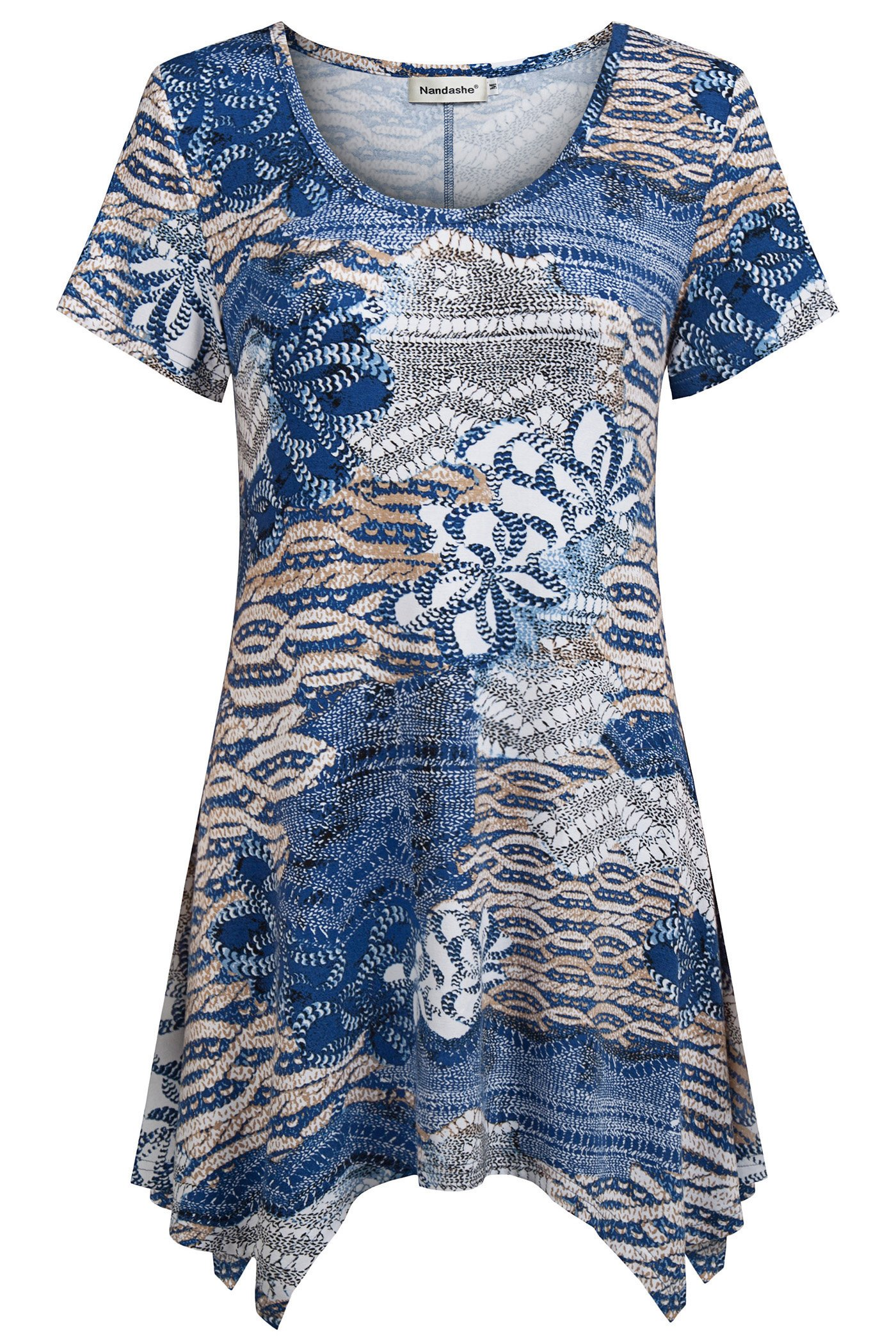 Nandashe Plus Size Clothes Women Summer, Modern Miss Sexy Scoop Collar Stretchy Cool Tunic Long Tops Capris Home Wear Blue Beige XX-Large by Nandashe