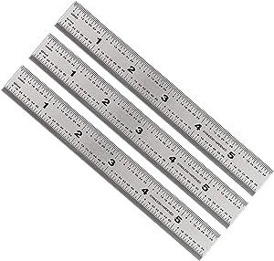 Mr. Pen- Machinist Ruler, Ruler 6 inch, 3 Pack, mm Ruler, Metric Ruler, Millimeter Ruler, (1/64, 1/32, mm and .5 mm), Metal Ruler 6 inch, Precision Ruler, 6 inch Ruler, Stainless Steel Ruler, Rulers