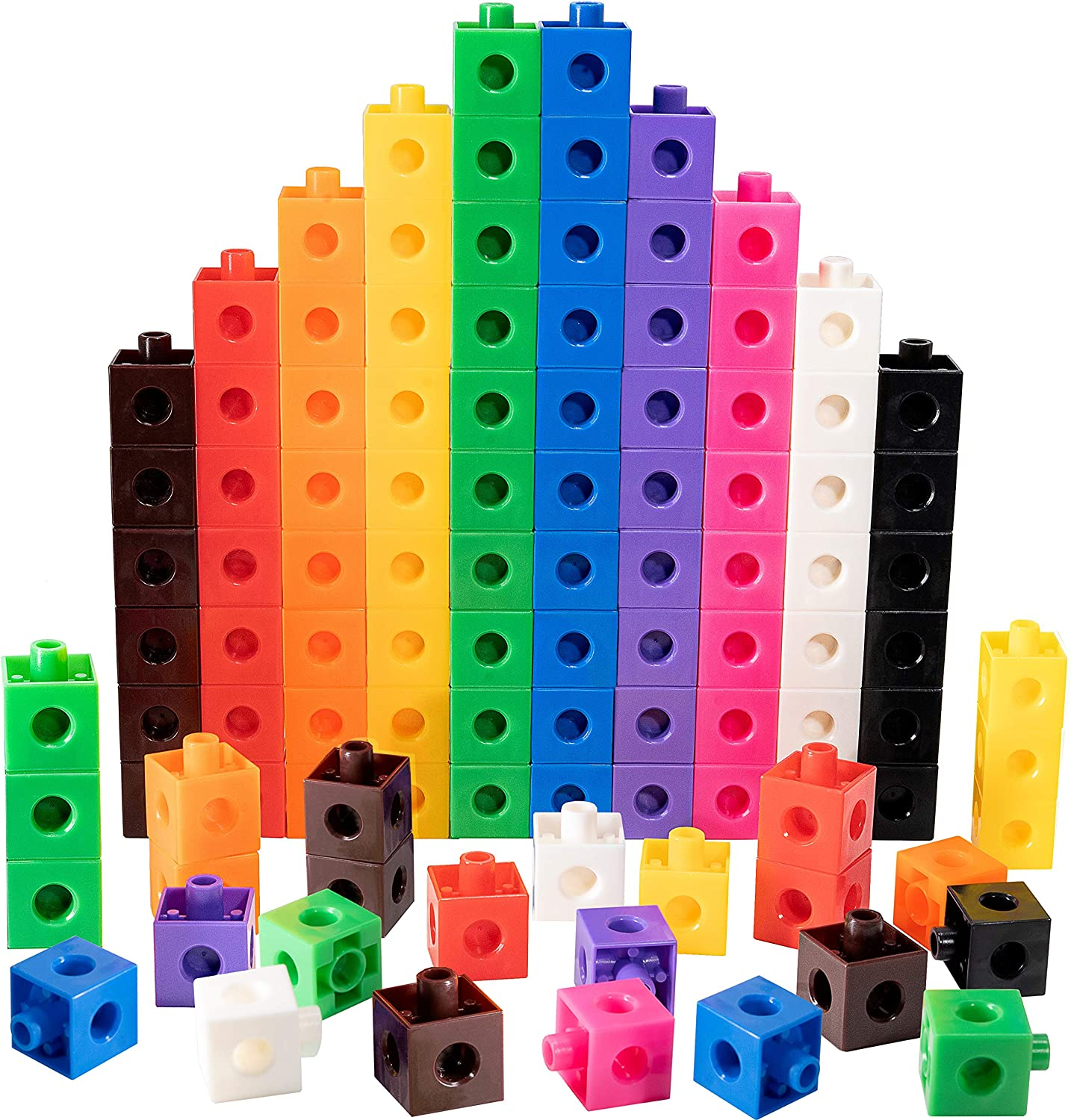 TOYLI 100 Piece Linking Cubes Set for Counting, Sorting, STEM, Connecting Math Manipulatives Educational Toy for Preschool, Kindergarten, Homeschool