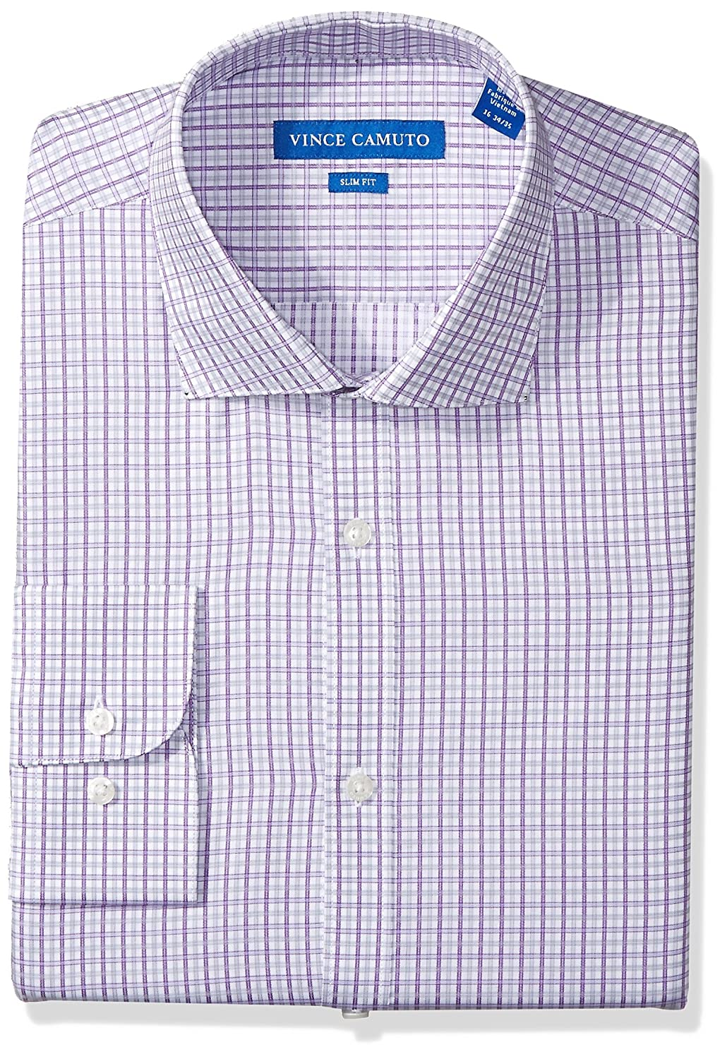 Vince Camuto Mens Slim Fit Sateen Check Dress Shirt Vince Camuto Tailored VD114S